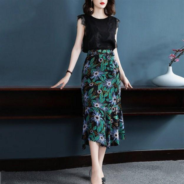 3160af32dc 2019 Sleeveless Patchwork Lace Top And Skirt Print Ensemble Femme Deux  Pieces Conjunto Feminino Bohemian Long Skirt Skirts Womens From Vanilla01,  ...