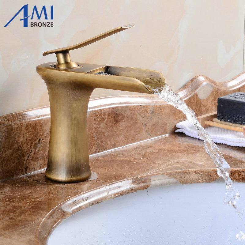 Amibronz Waterfall Basin Faucet Brass Mixer Hot Cold Mixer Basin Tap ...