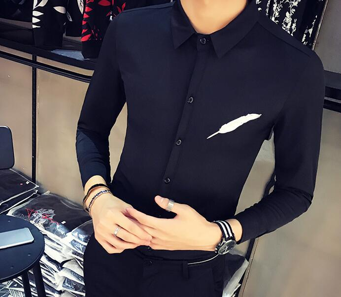 Men's Clothing S-5xl Hot 2019 Summer Mens New Fashion Stitching Self-cultivation Hair Stylist Nightclub Long-sleeved Shirt