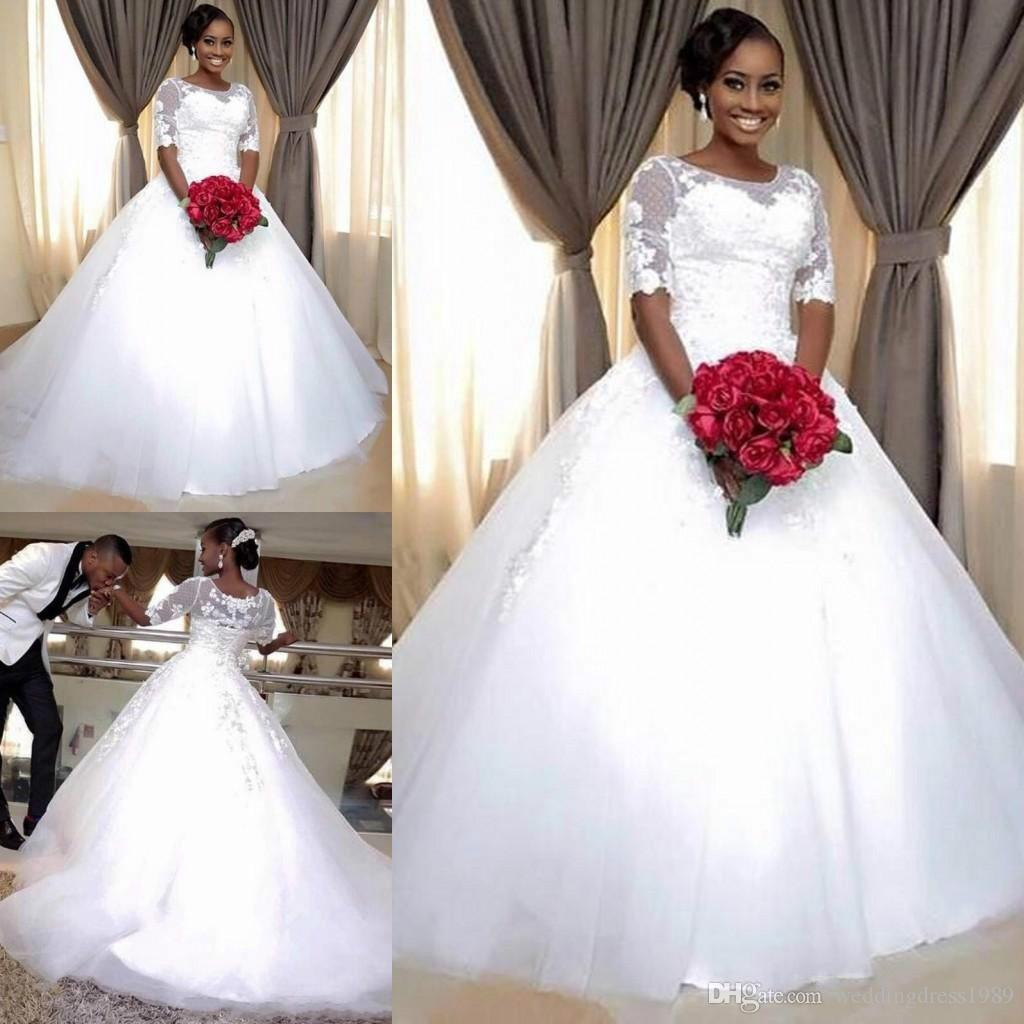 Discount Beautiful Half Sleeve African Wedding Dresses Sheer Illusion A Line Lace Train Ball 2018 Vestido De Novia Bridal Gown Plus Size Custom: Gorgeous African Wedding Dresses At Websimilar.org