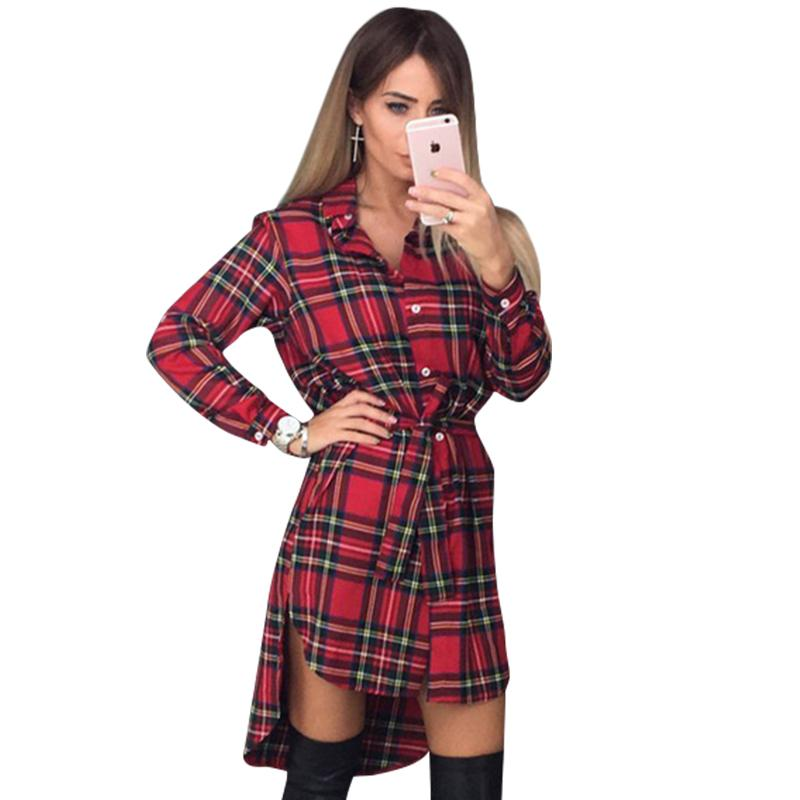 48130d2e3ca Plaid Women Shirt Dress Vintage Button Bandage Dress Irregular Hemturn Down  Collar Long Sleeve Mini Dress Women Clothes Strapless Party Dresses Ladies  ...