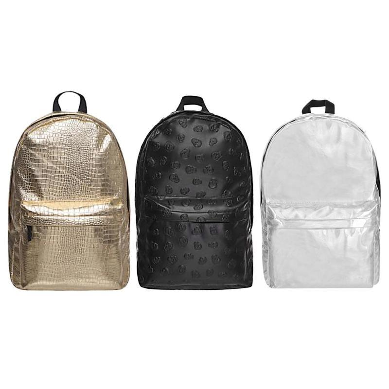 Stylish Street Backpack Women Silver PU Leather Waterproof Backpack Men S  Bag Gold Travel Shoulder Bag Casual Zipper Camera Backpack Back Packs From  ... c65f2d7aef962