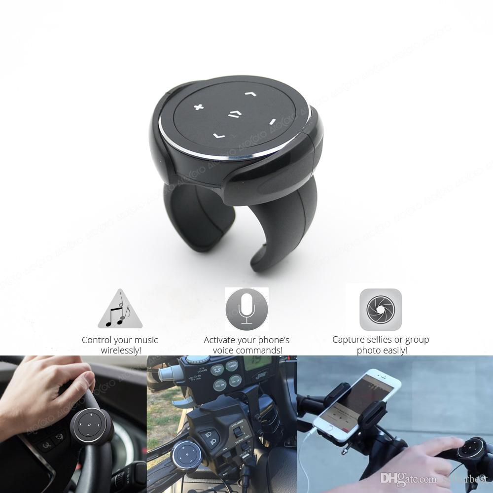 Wireless Bluetooth Media Button Mount Fernbedienung Auto Motorrad Bike Lenkrad Selfie Siri Control Musik für Android iOS Phone