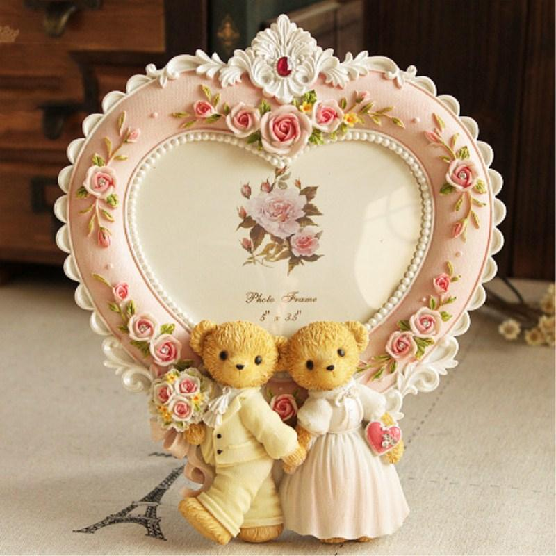 2018 5 Inch Heart Shaped Picture Frame Korean Style Wedding Bear
