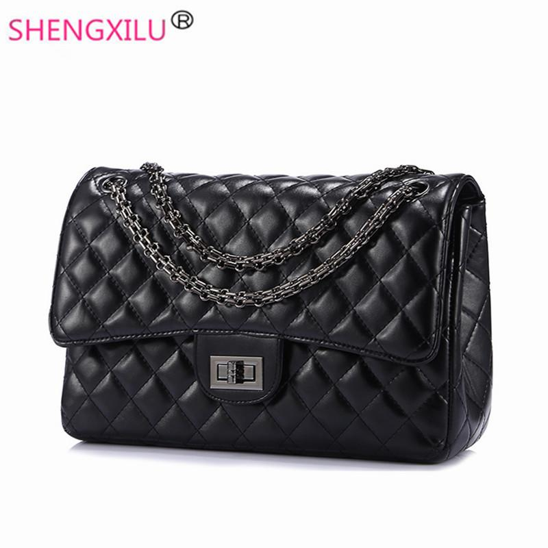 Shengxilu Plaid Women Shoulder Bags Brand Leather Crossbody Messenger Bags Fashion Luxury Ladies Chain Handbags Sacs Bolsos