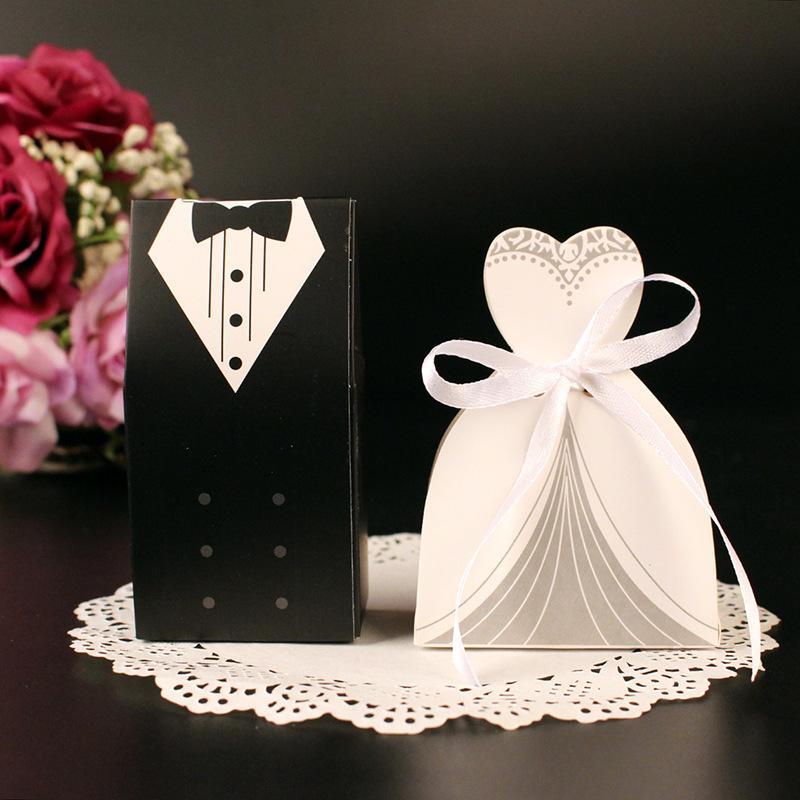Wedding Gifts Case Bride Groom Tuxedo Dress Gown Ribbon Wedding