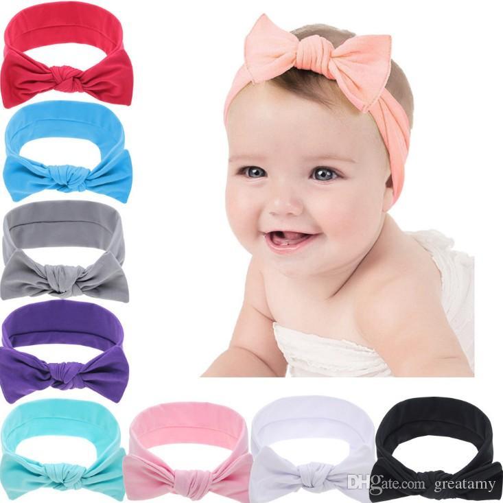 bebé color sólido de la venda de 2018 nuevo estilo de oreja de conejo recién nacido color puro niño accesorios para el cabello bowknot bebé heandbands niños diadema