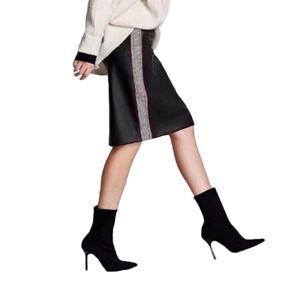 afa109052 2019 primavera moda mujer PU faldas de cuero Houndstooth lado Patchwork  Fleece vaina lápiz falda Casual para mujer cintura alta falda
