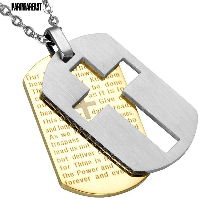 2018 whole salepf cross necklaces pendants christian jewelry bible 2018 whole salepf cross necklaces pendants christian jewelry bible lords prayer dog tags gold color stainless steel christmas gift for men from aloadofball Image collections