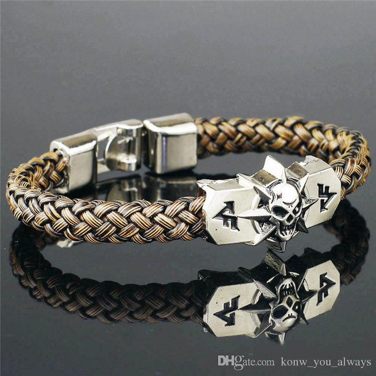 Extensions de jeu Unique Cross Fire CF Réplique en cuir PU Squelette Skull Alliage Boucle Bracelet Manchette Bracelet