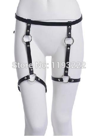2014 New Sexy Handmade Leather Leg Garter Belt, Punk Rock Waist Belt Cinchers O Round Garter Harness Loops
