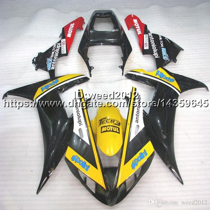 23colors+5Gifts yellow black ABS Plastic motorcycle article body kit for Yamaha YZF-R1 2002-2003 YZFR1 02-03 Fairings