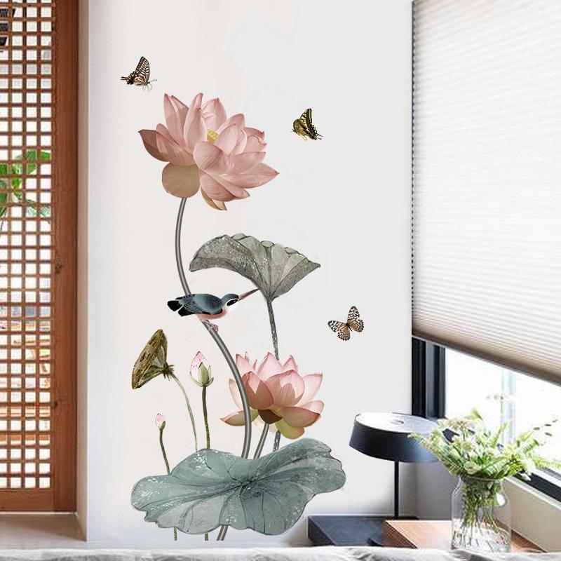 Chinesische Art Lotus Blume Vinyl Wandaufkleber Vintage Poster Badezimmer  Schlafzimmer Wohnkultur Aufkleber Aufkleber Wandbild Y18102209