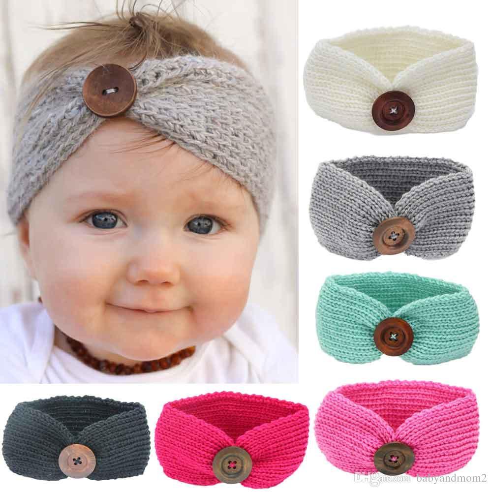 Großhandel 6 Farben Neue Baby Mädchen Mode Wolle Häkeln Stirnband