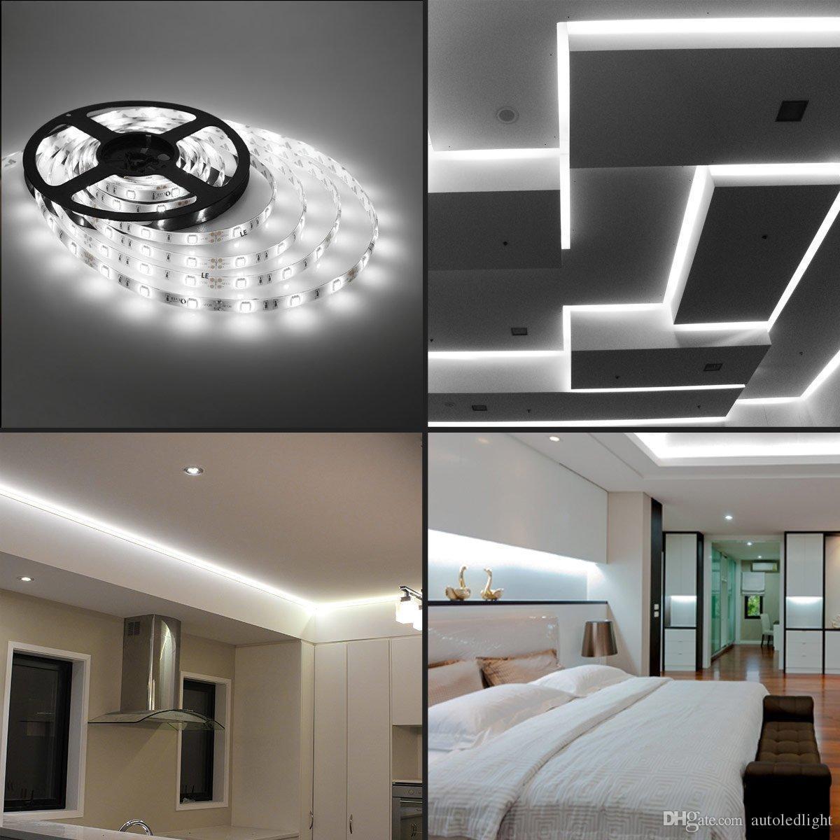 DC12V 5M 300LED IP65 IP20 no resistente al agua 5050 SMD RGB LED Tira de luz 3 líneas en 1 lámpara Cinta para iluminación del hogar