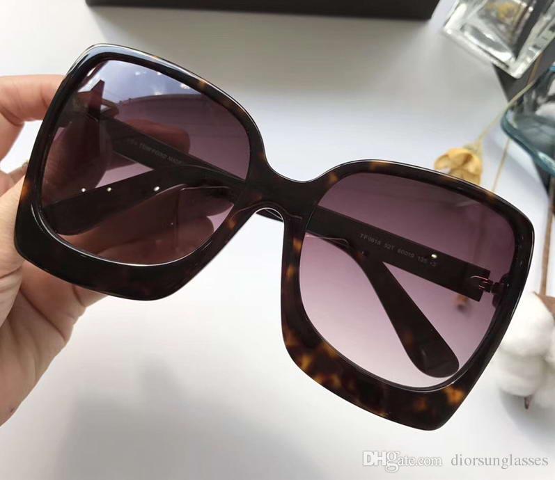 Kadın Tasarımcı Dakota TM TF 0618 Parlak Siyah Plastik Güneş Gözlüğü Açık Gri Degrade Marka Güneş Gözlüğü Ile Orijinal Vaka