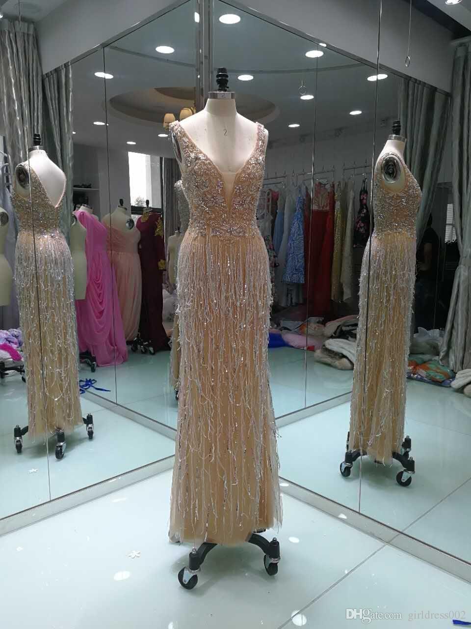 Design Avondjurken.Real Photo Champagne Formal Evening Dresses Mermaid 2019 Robe De