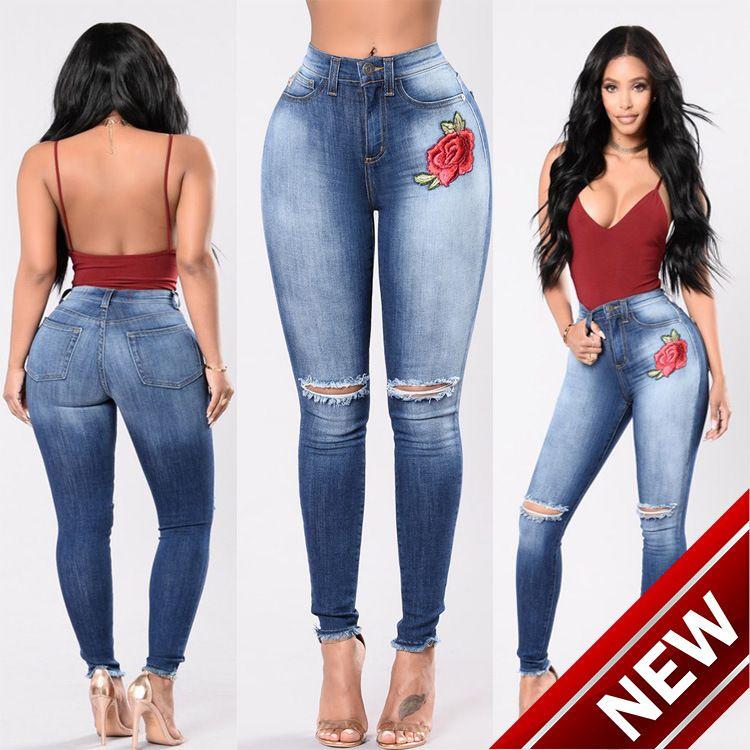 ef008cc5e7b Compre 2018 Second Ma Sun Fashion Holes Bordado Alto Elástico Vaquero Mujer  Pantalones 8056 Hombres Plata Jeans Camisas Para Mujeres Pantalón De ...