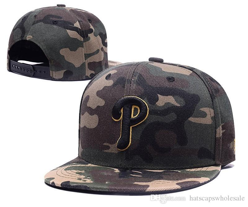 2018 New Full Camo Color Phillies Snapback Hats With Letter P Embroidered  Bones Sports Baseball Flat Caps For Men S Cool Caps Flat Brim Hats From ... ecfad815aed