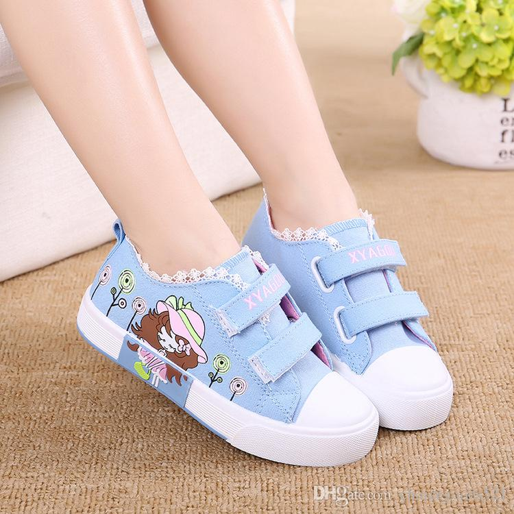 Retail- Fashion Children Athletic Shoes Side Part Flower Floral Individuality Baby Kids Canvas Shoes Girls Sneaker