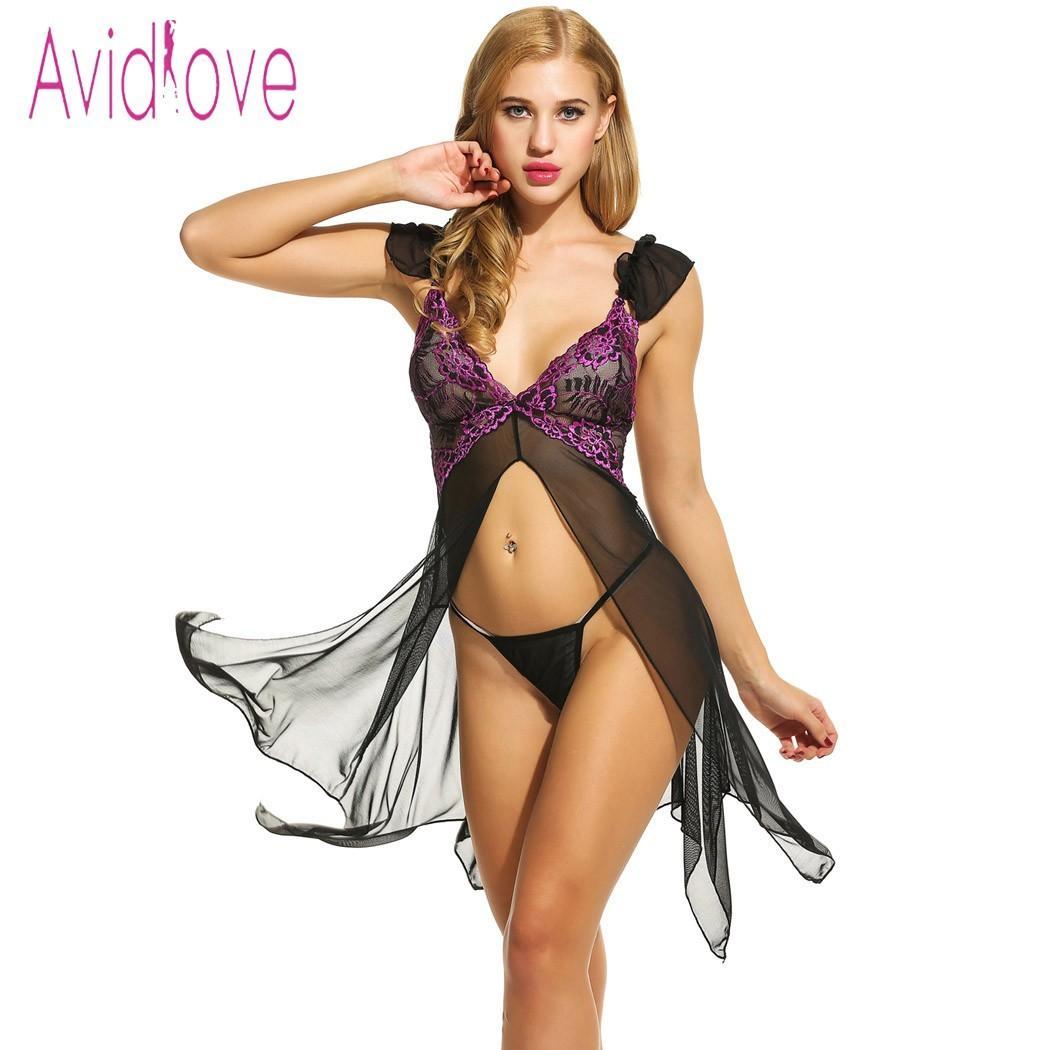 5db1e2c7d Avidlove Sexy Lingerie Babydoll Dress Erotic Nightdress Women Asymmetrical  Open Front Nightwear Sheer Mesh Sleepwear Sex Costume YUnderwear Bra And  Pantie ...