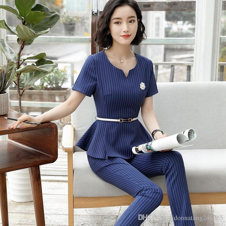 af044ad0320c 2019 Novelty Slim Fashion Summer Short Sleeve Striped Formal Uniform Design  Pantsuits Jackets And Pants For Ladies Office Blazers Set From Dujotree