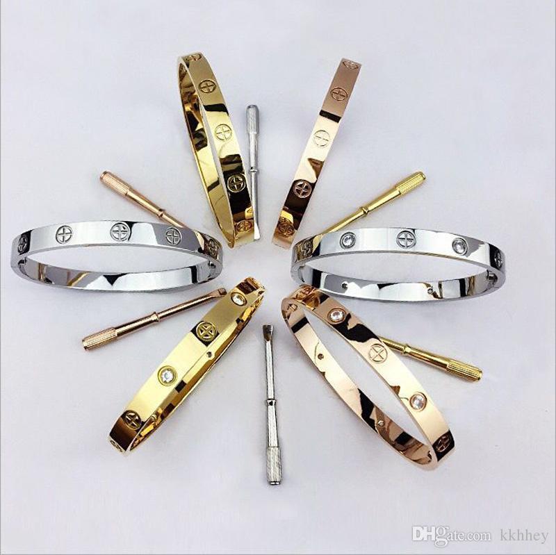 Fashion designer classique bijoux bijoux avec cristal hommes bracelets en or 18k bracelet en acier inoxydable amour bracelet à vis bracciali