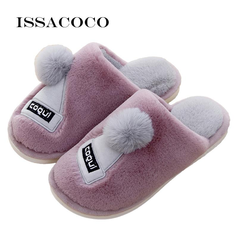 ISSACOCO Winter Women Home Slippers Warm Shoes Soft Plush Cotton ... ec203950001b