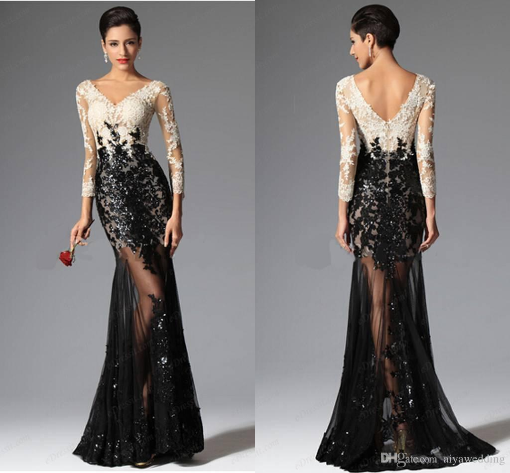 9f01aaa0f8f50 Free Shipping Cheap Modest Mermaid Evening Dresses Formal Dresses V  Neckline Black And White Lace Prom Dresses Sexy Beaded Pageant Gowns