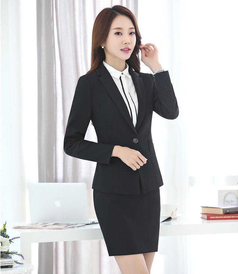 cfaa86396be Acheter Nouveau 2018 Formelle Noir Blazer Femmes Costumes D affaires Avec  Jupe Et Veste Définit Les Uniformes De Travail Élégant Dames De  68.98 Du  Hongyeli ...