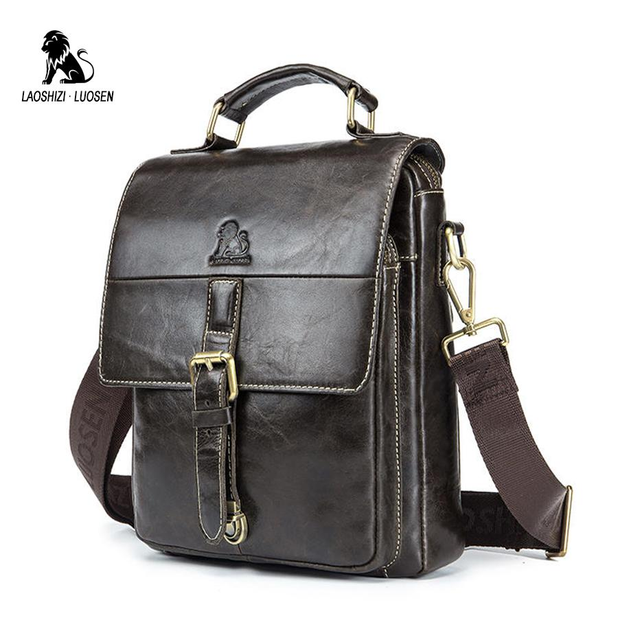 276a5804f1 Male Genuine Leather Messenger Bags Oil Wax Crossbody Man Fashion Handbag  Flap Shoulder Ipad Mochlia Business Travel Blosa Gift Handbags On Sale  Shoulder ...