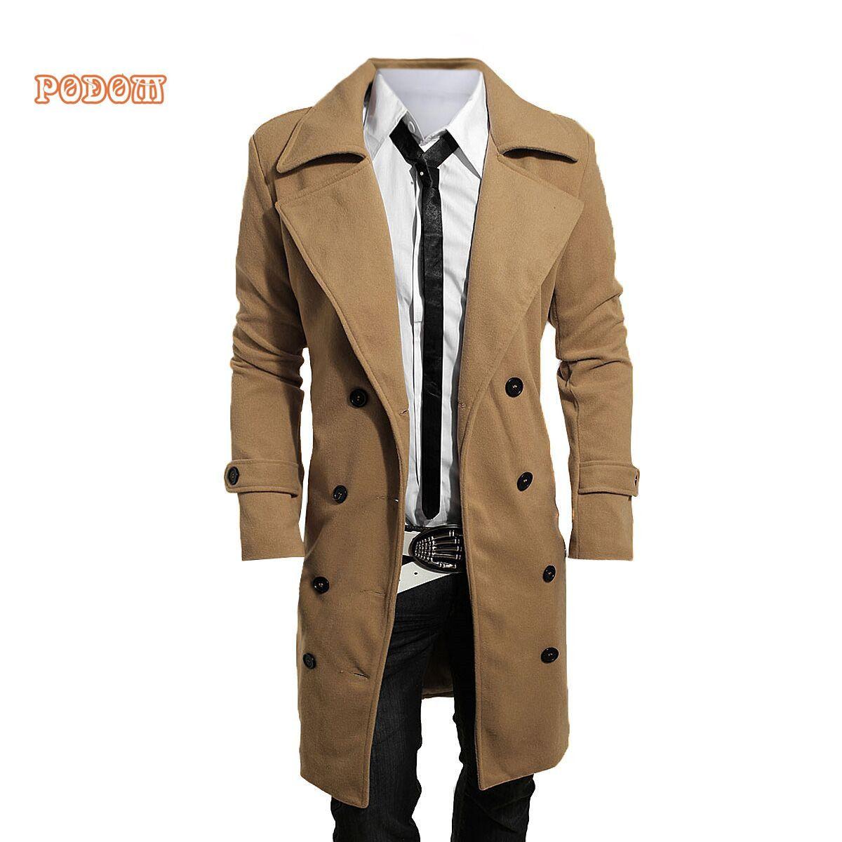 43aa010c Wholesale-Long Jackets Men Autumn Winter Single Breasted Men Outerwear  Casual Slim Fit Men s Jackets Business Windbreaker Mens Trench Coat