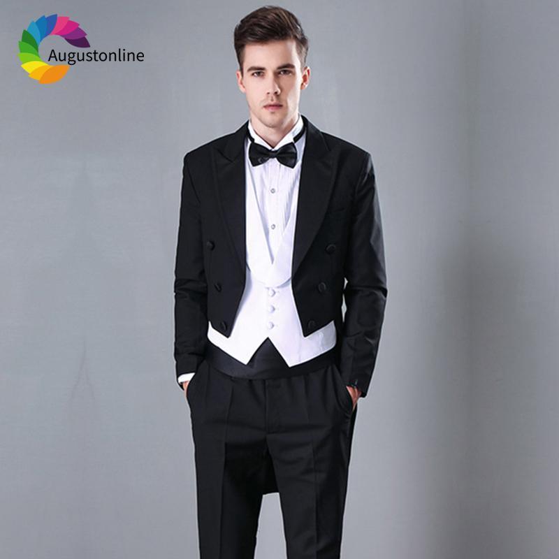 Acheter Costumes Hommes Pour Le Mariage Noir Tailcoat Marié Marié Soirée  Fête Custom Tuxedo Slim Fit Formel Meilleur Homme De Bal Blazer Beau De   94.8 Du ... 275000779b0