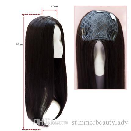 2018 Moda Mono Dantel saç peruk ince cilt doğal Saç Topper Uzun postiş Üst Kadın Aksesuar Düz saç değiştirme klip kapatma