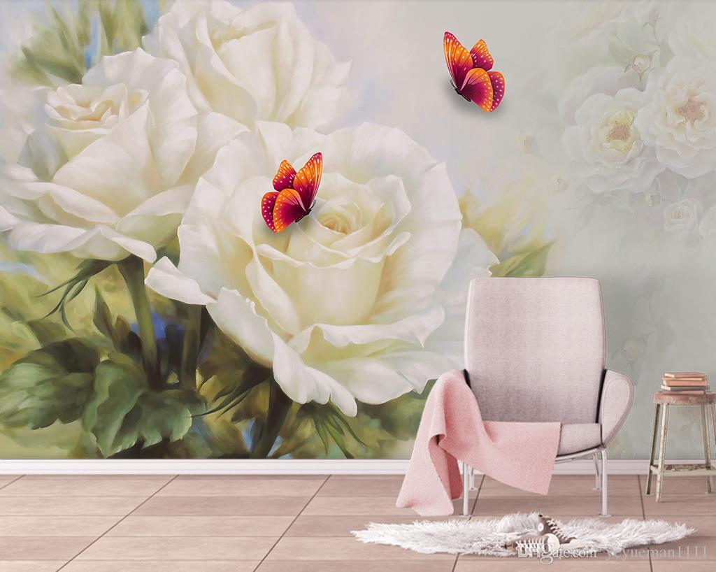 White rose butterfly Decoration 3D Photo Wallpaper Silk Living Room Wall Covering Mural Wallpaper For Living Room Hotel Office Deskdrop Wall
