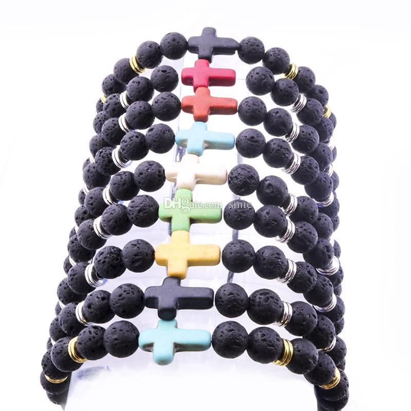 8mm Natural Lava Rock Stone Beads Cross Bracelet Diy Aromatherapy Essential Oil Diffuser Silver gold color Bracelet for Men
