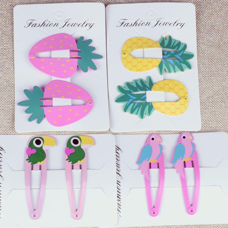 Fashion Children Jewellery Kids Cartoon Fruit Parrot Hair Clips Baby