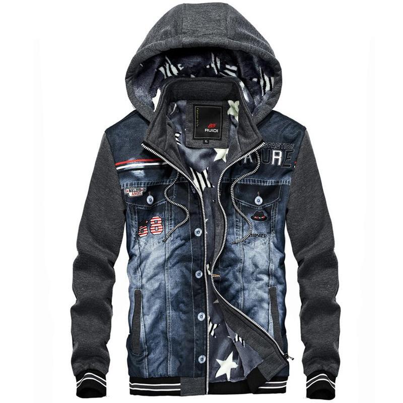 huge discount 04f1d b9cd4 Cowboy Jacken Männer Denim Mit Kapuze Sweatshirts Jacke Mode Jeans Nähte  Mode Streetwear Hoodies Mens Beiläufige Dicke Mäntel