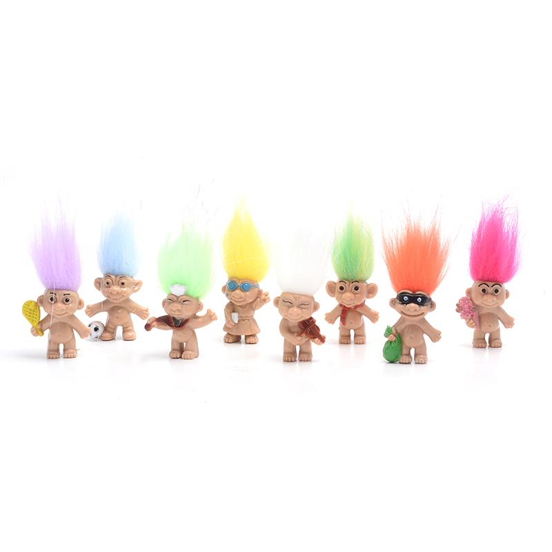 HOT Sale 80pcs/lot Colorful Hair Troll Doll Family Members Dad Mum Baby Boy Girl Dam Trolls Toy Gift Happy Love Family