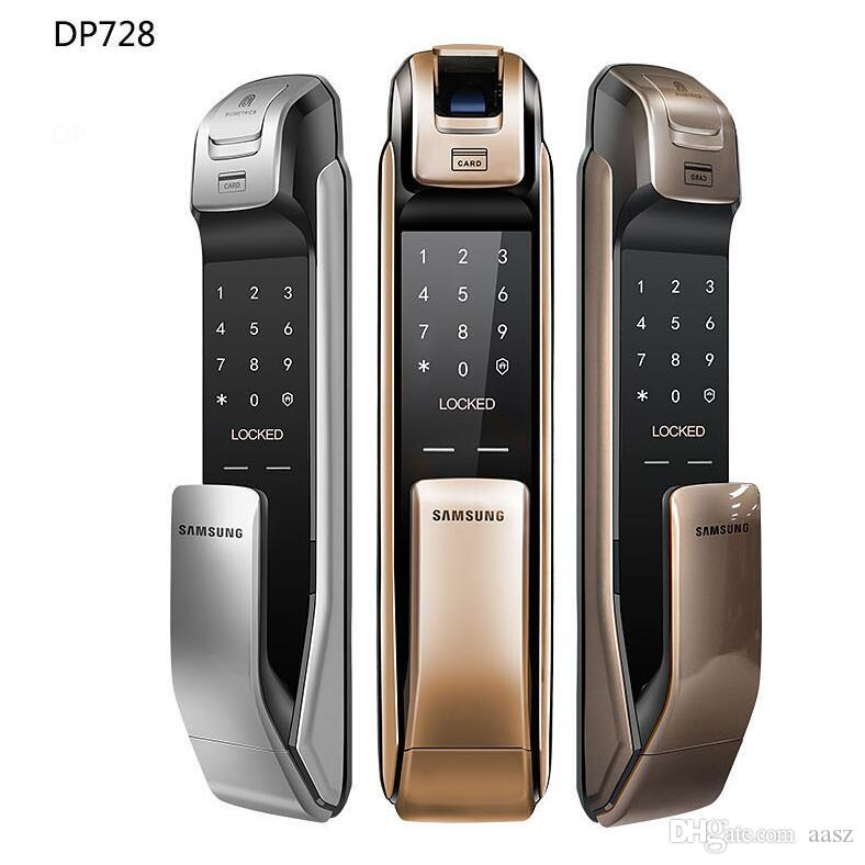 SAMSUNG SHP-DP728 Keyless BlueTooth Fingerprint PUSH PULL Two Way Digital  Door Lock English Version Big Mortise Gold Color