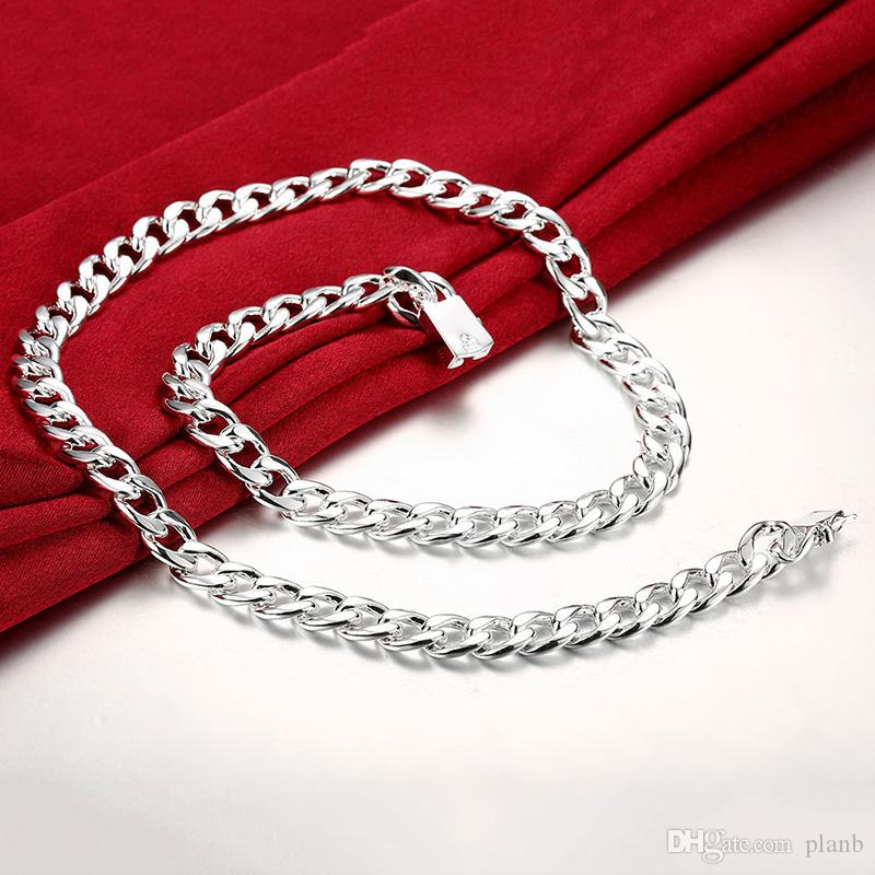 Never fade Fashion Luxury Figaro Chain Necklace Men Jewelry 925 Sterling SIlver Plated 10mm Imitation Rhodium Chain Necklaces for Mens