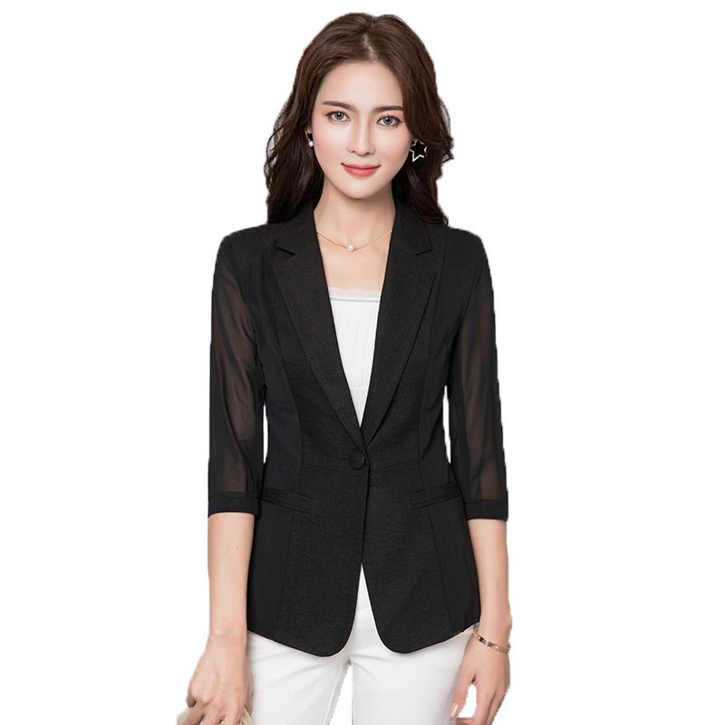 Ms  Summer Suit 2018 New Female Professional Small Suits Jacket Thin Short  Korean Slim Sleeve Mesh Comfortable Fashion Hot ZTT35