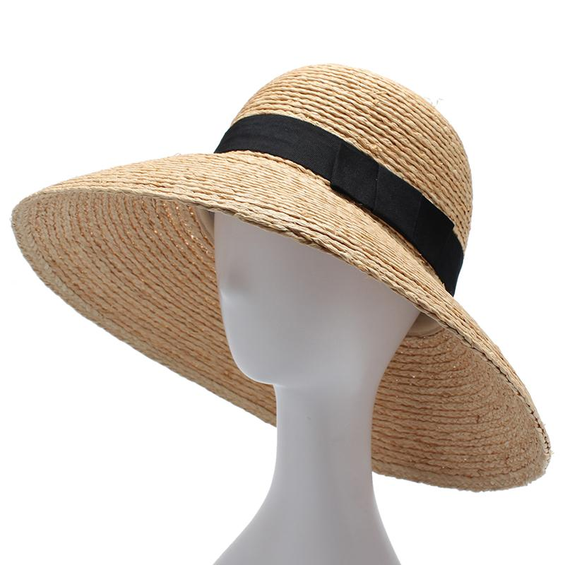 Women Sun Hat With A Wide Brim Ladies Elegant Natural Raffia Straw Hats UV  Protection Beach Hat Sombrero Hombre Verano Floppy Hats Black Floppy Hat  From ... 2e40350fb46