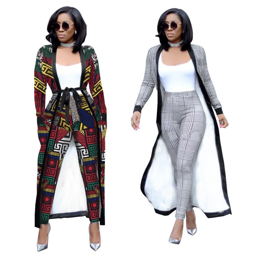 2aea72bcf0737 2019 2018 Autumn Winter Set Women Trench Coat High Waist Pants Matching  Belt OL Plus Size Pocket Two Piece Outfits For Women From Qackwang