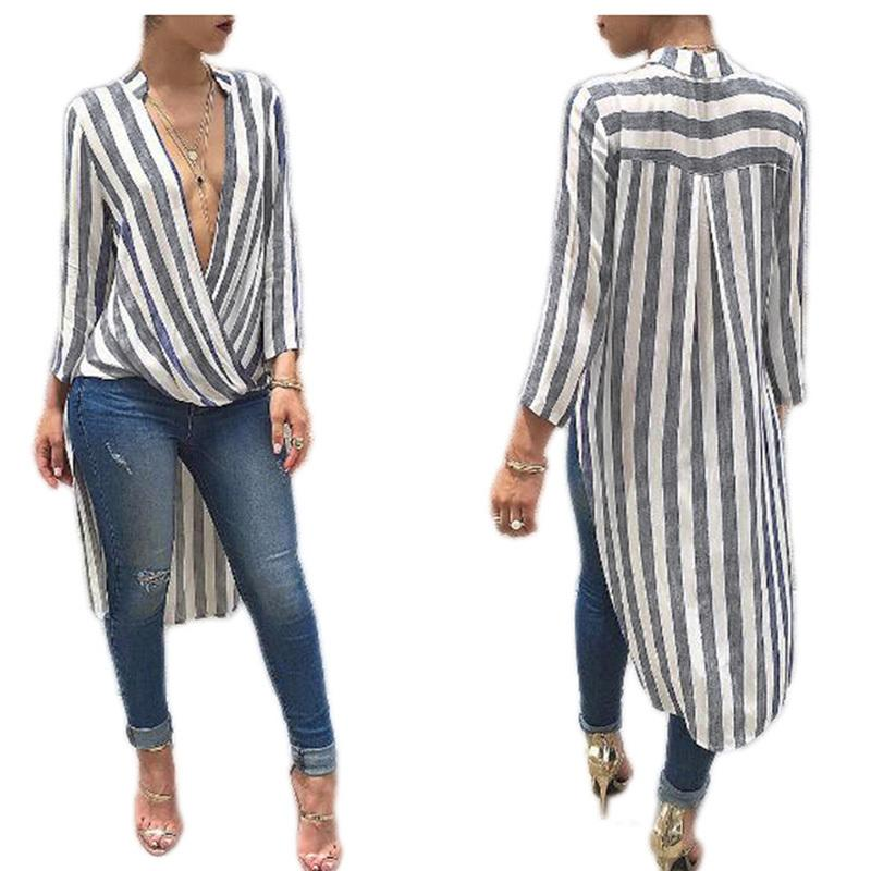 4291782444b Autumn Spring Women Dress Striped Long Sleeve Deep V Neck Irregular Cotton  Casual Women Shirt Dress Female Vestidos Clothing Long Sleeve White And  Gold ...