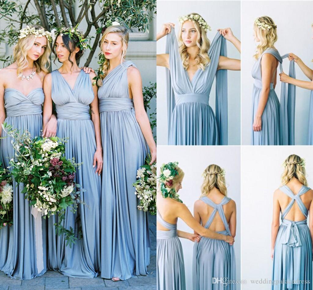 2018 Ice Blue Country Beach Bohemian Cheap Bridesmaid Dresses Convertible Train Floor Length Pleats Bridesmaid Gowns Maid of Honor Dress