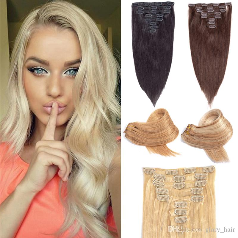 Straight Full Head Clip In Human Hair Extensions 14 24 Machine Made