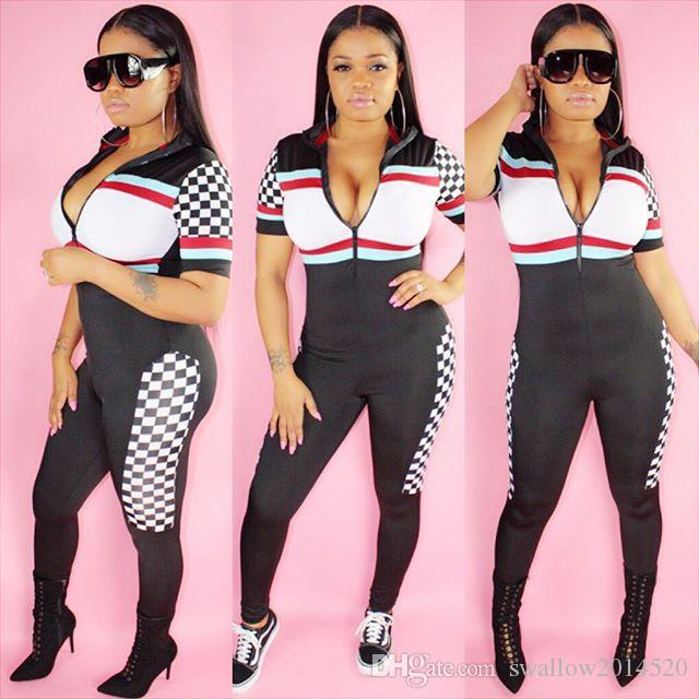 2018 Hot Sale Joggers Bandage Jumpsuit Tracksuit Black White Plaid Front Zipper Fashion Women Bodycon Jumpsuits