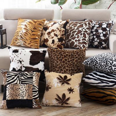 Patrón decorativo casero de la piel del animal doméstico Tiger Cat Cow Leopard Soft Fleece barato de piel sintética Funda Throw Pillow Case