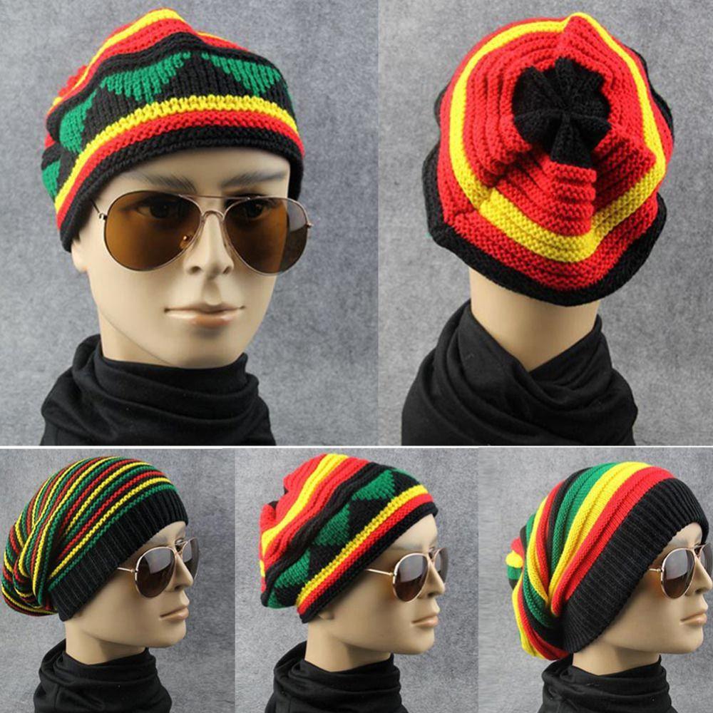 2b648564116 2019 Men Women Hip Hop Bob Jamaican Cap Rasta Reggae Hat Multi Colour  Striped Beanie Hats Winter Male New Style Beanie Caps Gorro From Pearguo